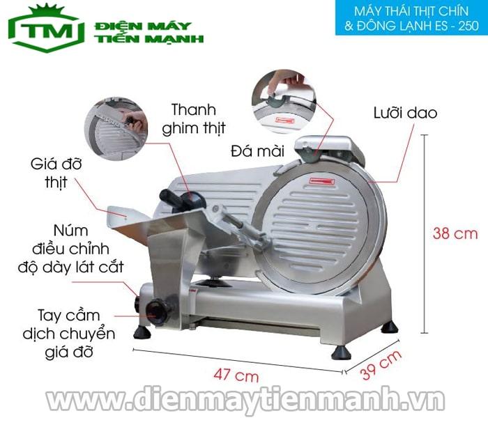 cấu tạo máy thái thịt chín đông lạnh es-250