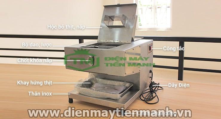 chi tiết máy cắt thịt bò tươi sống